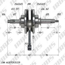 Вал коленчатый в сборе 4Т 156FMJ (h57,5) p13mm; TTR150
